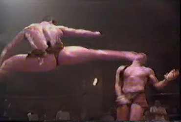 Kickboxer pantsless kick